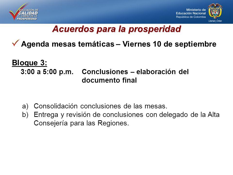 Acuerdos para la prosperidad Agenda mesas temáticas – Viernes 10 de septiembre Bloque 3: 3:00 a 5:00 p.m.