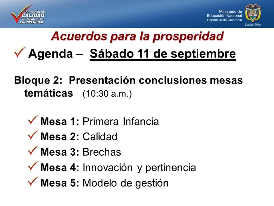 Acuerdos para la prosperidad Agenda – Sábado 11 de septiembre Bloque 2: Presentación conclusiones mesas temáticas (10:30 a.m.) Mesa 1: Primera Infancia Mesa 2: Calidad Mesa 3: Brechas Mesa 4: Innovación y pertinencia Mesa 5: Modelo de gestión
