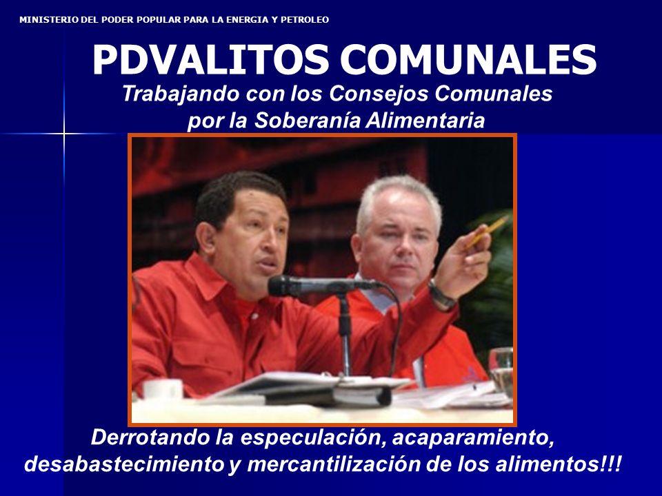 MINISTERIO DEL PODER POPULAR PARA LA ENERGIA Y PETROLEO Derrotando la especulación, acaparamiento, desabastecimiento y mercantilización de los alimentos!!.