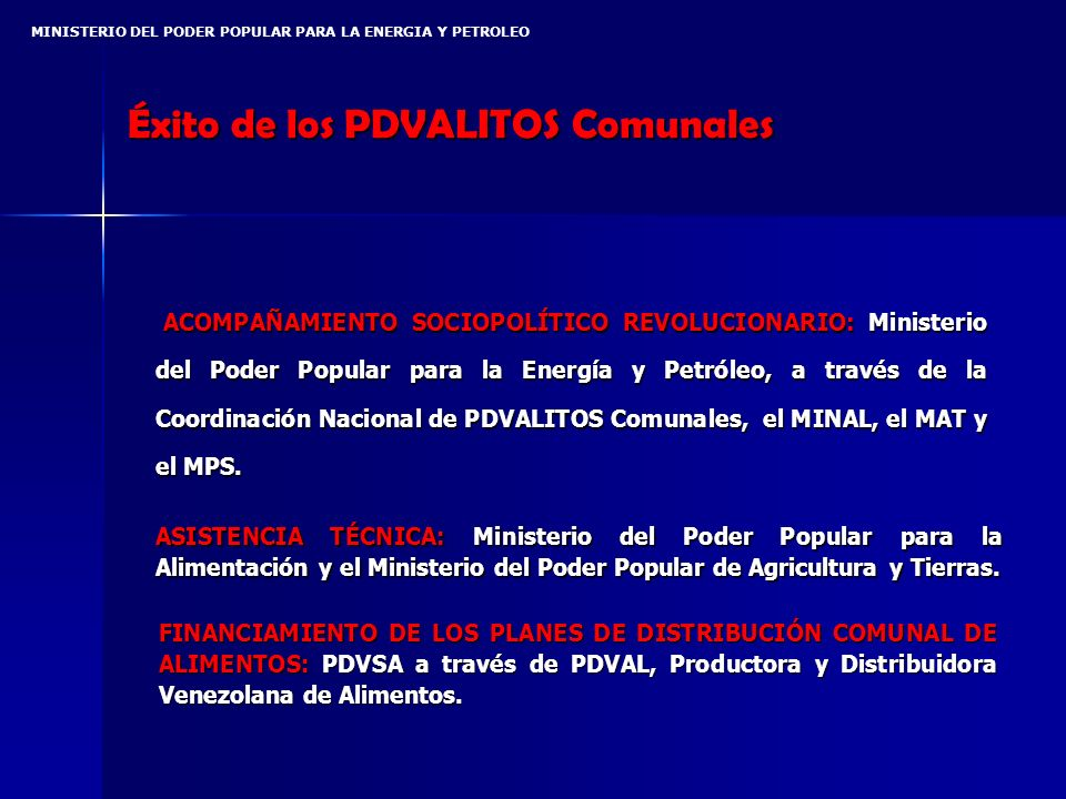 MINISTERIO DEL PODER POPULAR PARA LA ENERGIA Y PETROLEO Éxito de los PDVALITOS Comunales ACOMPAÑAMIENTO SOCIOPOLÍTICO REVOLUCIONARIO: Ministerio del Poder Popular para la Energía y Petróleo, a través de la Coordinación Nacional de PDVALITOS Comunales, el MINAL, el MAT y el MPS.