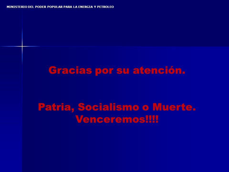 MINISTERIO DEL PODER POPULAR PARA LA ENERGIA Y PETROLEO Gracias por su atención.