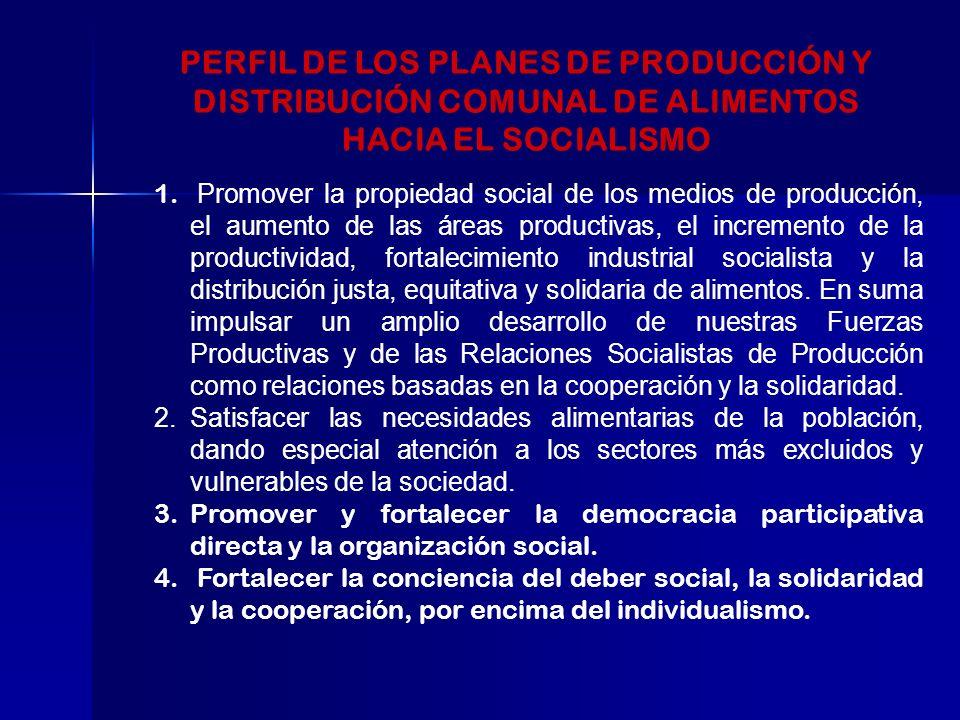 PERFIL DE LOS PLANES DE PRODUCCIÓN Y DISTRIBUCIÓN COMUNAL DE ALIMENTOS HACIA EL SOCIALISMO 1.
