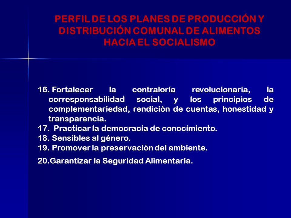 16. Fortalecer la contraloría revolucionaria, la corresponsabilidad social, y los principios de complementariedad, rendición de cuentas, honestidad y