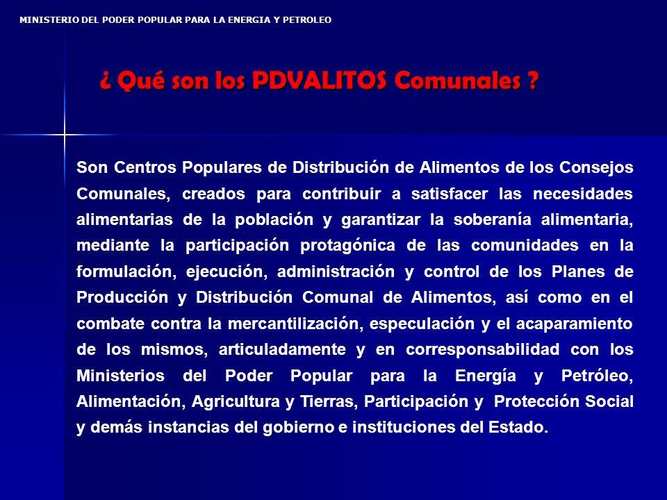 MINISTERIO DEL PODER POPULAR PARA LA ENERGIA Y PETROLEO ¿ Qué son los PDVALITOS Comunales .