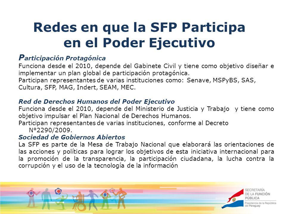 Redes en que la SFP Participa en el Poder Ejecutivo P articipación Protagónica Funciona desde el 2010, depende del Gabinete Civil y tiene como objetivo diseñar e implementar un plan global de participación protagónica.