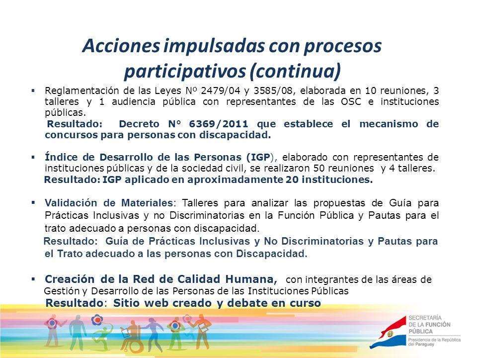 Acciones impulsadas con procesos participativos (continua) Reglamentación de las Leyes Nº 2479/04 y 3585/08, elaborada en 10 reuniones, 3 talleres y 1 audiencia pública con representantes de las OSC e instituciones públicas.