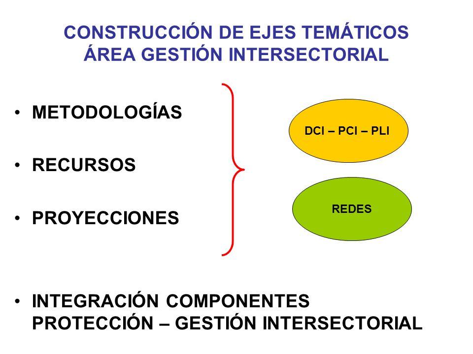 CONSTRUCCIÓN DE EJES TEMÁTICOS ÁREA GESTIÓN INTERSECTORIAL METODOLOGÍAS RECURSOS PROYECCIONES INTEGRACIÓN COMPONENTES PROTECCIÓN – GESTIÓN INTERSECTORIAL DCI – PCI – PLI REDES