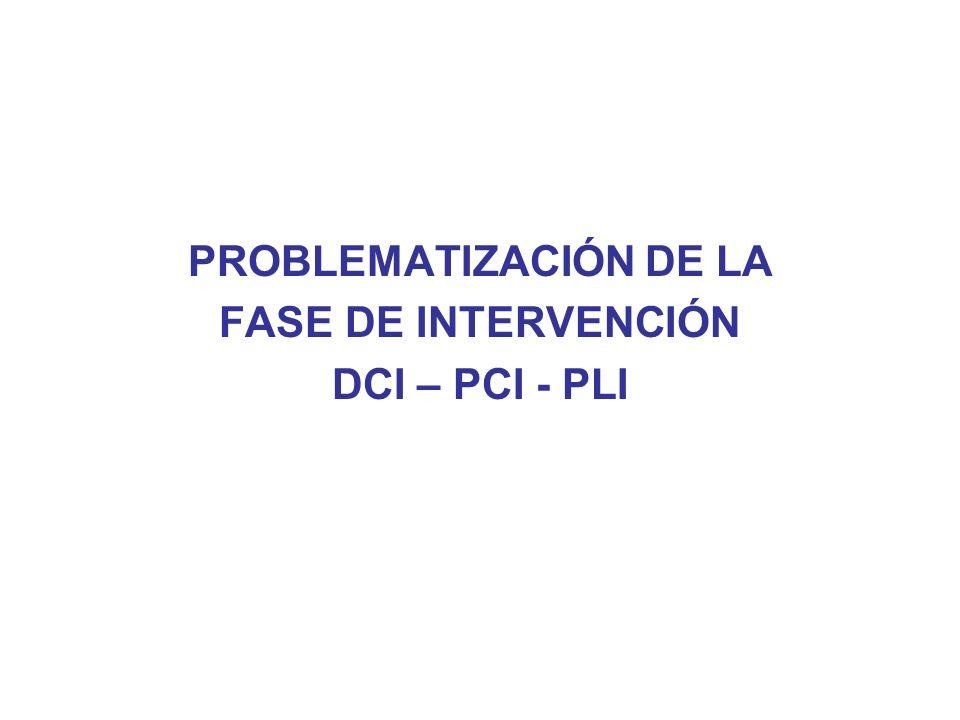 PROBLEMATIZACIÓN DE LA FASE DE INTERVENCIÓN DCI – PCI - PLI