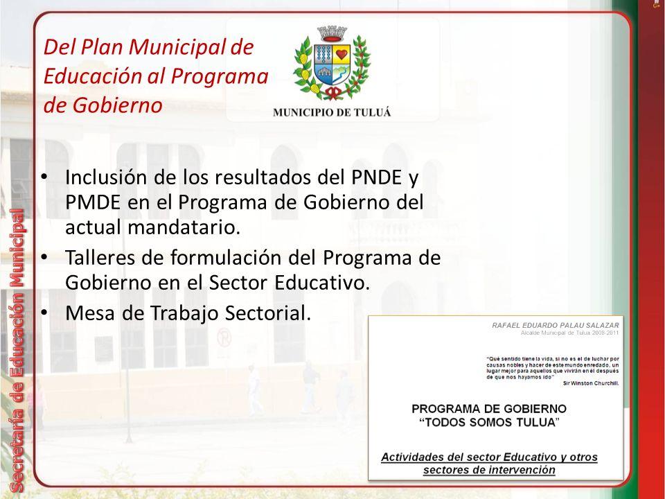 Del Plan Municipal de Educación al Programa de Gobierno Inclusión de los resultados del PNDE y PMDE en el Programa de Gobierno del actual mandatario.