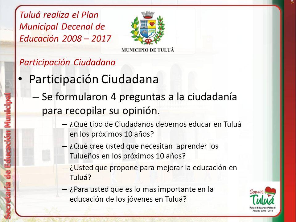 Tuluá realiza el Plan Municipal Decenal de Educación 2008 – 2017 Participación Ciudadana Medios de Participación Ciudadana – Virtual: Participación en 4 foros virtuales.