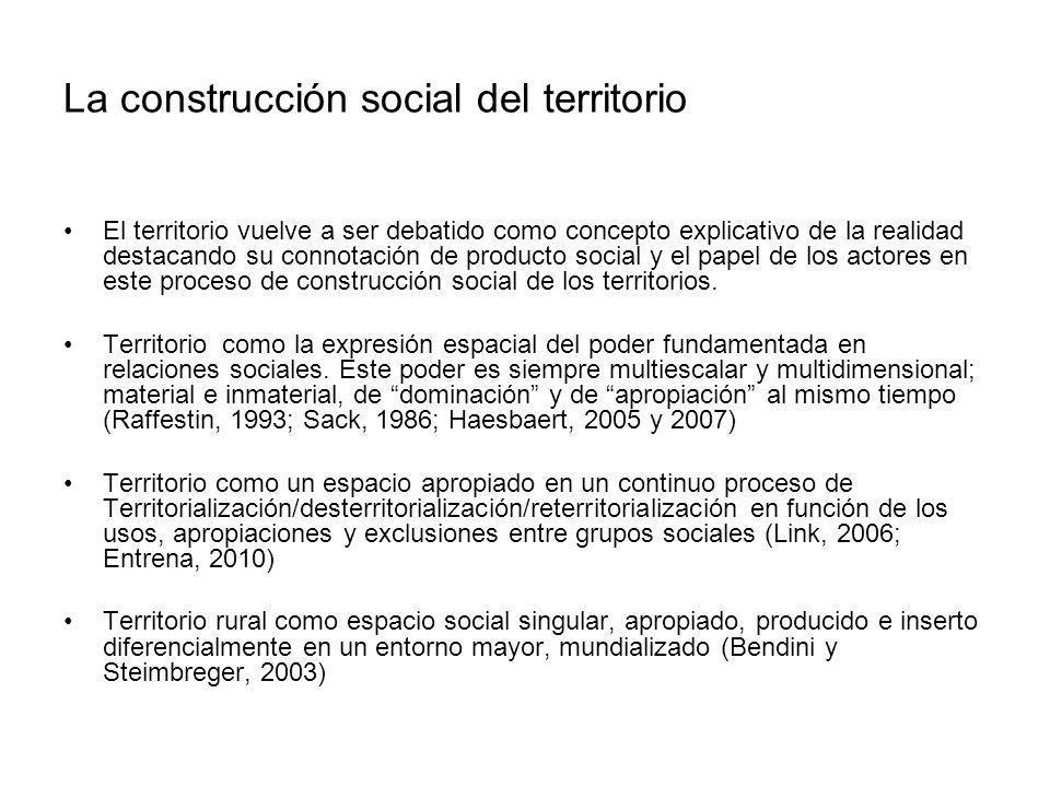 La construcción social del territorio El territorio vuelve a ser debatido como concepto explicativo de la realidad destacando su connotación de produc