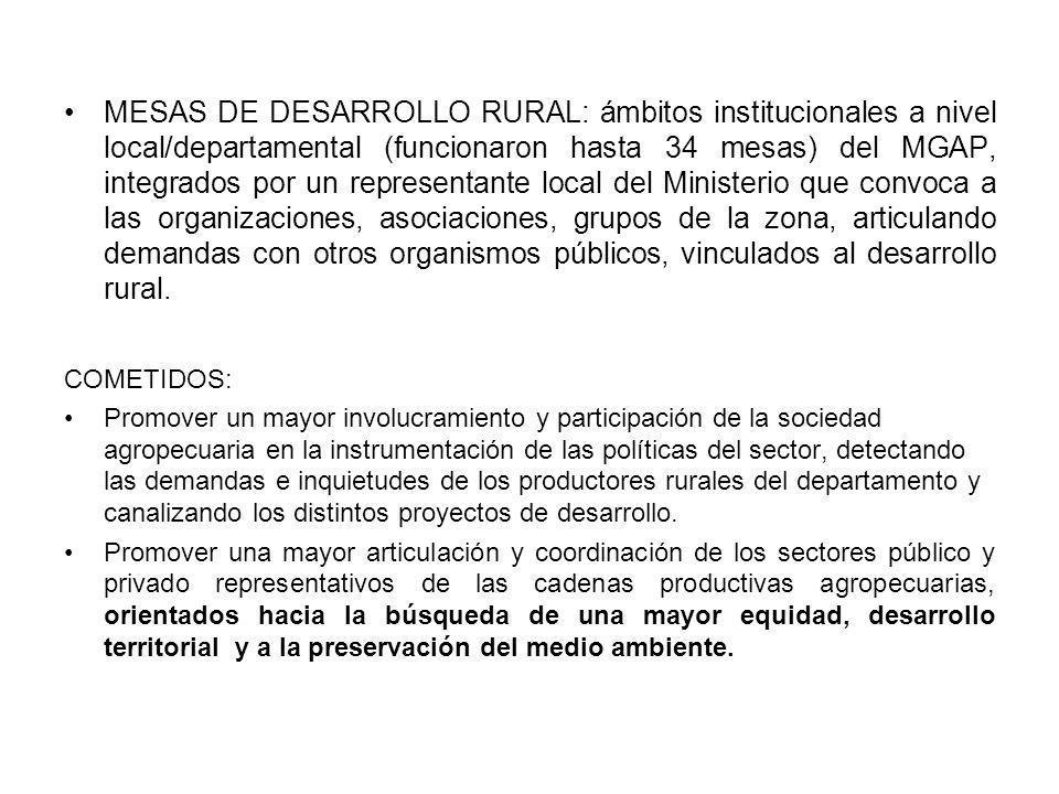 MESAS DE DESARROLLO RURAL: ámbitos institucionales a nivel local/departamental (funcionaron hasta 34 mesas) del MGAP, integrados por un representante