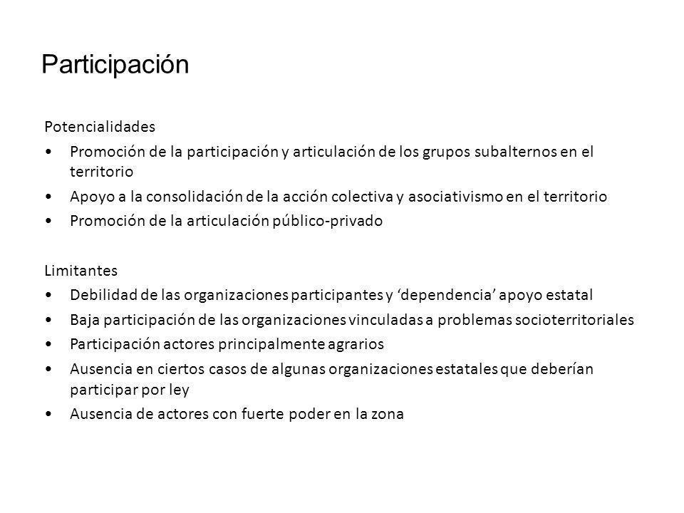 Participación Potencialidades Promoción de la participación y articulación de los grupos subalternos en el territorio Apoyo a la consolidación de la a