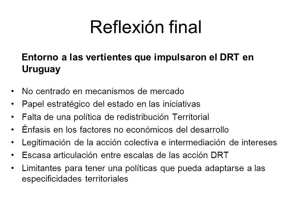 Reflexión final Entorno a las vertientes que impulsaron el DRT en Uruguay No centrado en mecanismos de mercado Papel estratégico del estado en las ini