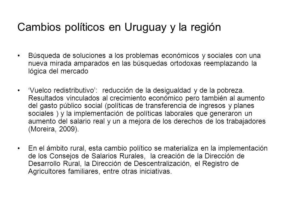 Cambios políticos en Uruguay y la región Búsqueda de soluciones a los problemas económicos y sociales con una nueva mirada amparados en las búsquedas