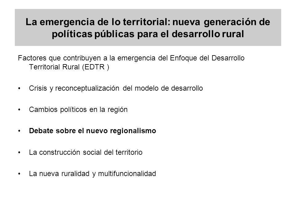 La emergencia de lo territorial: nueva generación de políticas públicas para el desarrollo rural Factores que contribuyen a la emergencia del Enfoque