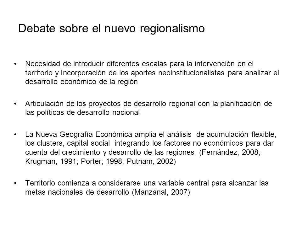 Debate sobre el nuevo regionalismo Necesidad de introducir diferentes escalas para la intervención en el territorio y Incorporación de los aportes neo
