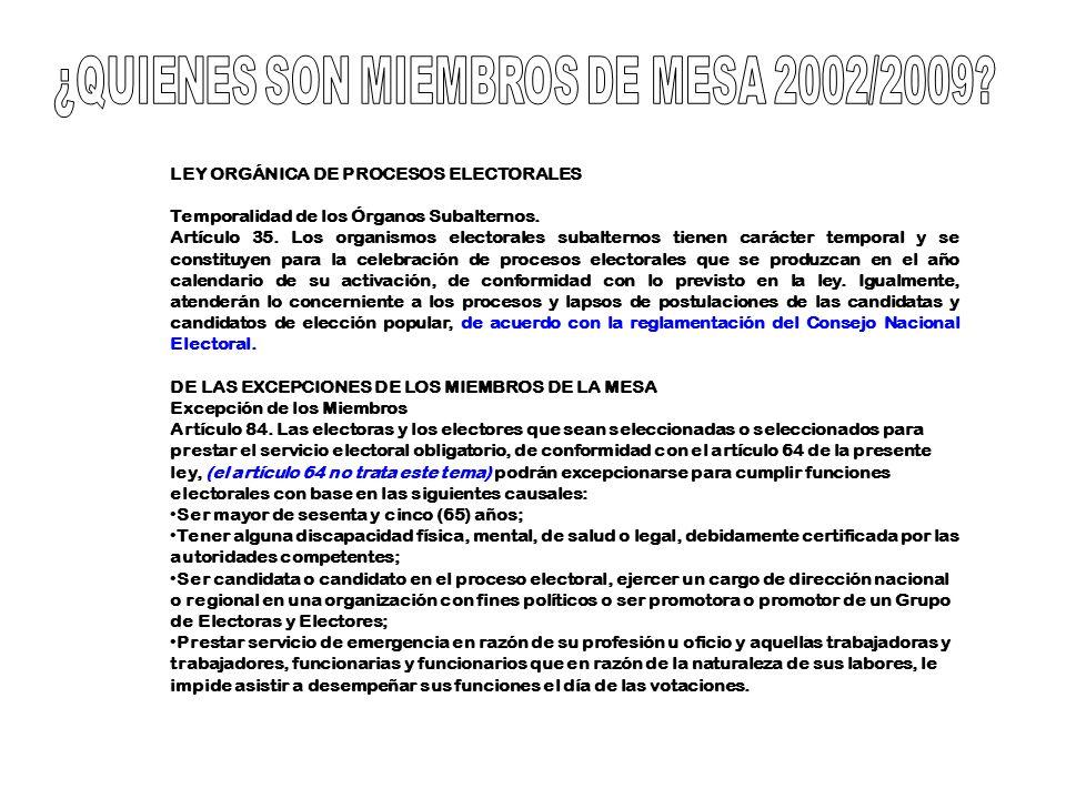 LEY ORGÁNICA DE PROCESOS ELECTORALES Temporalidad de los Órganos Subalternos. Artículo 35. Los organismos electorales subalternos tienen carácter temp