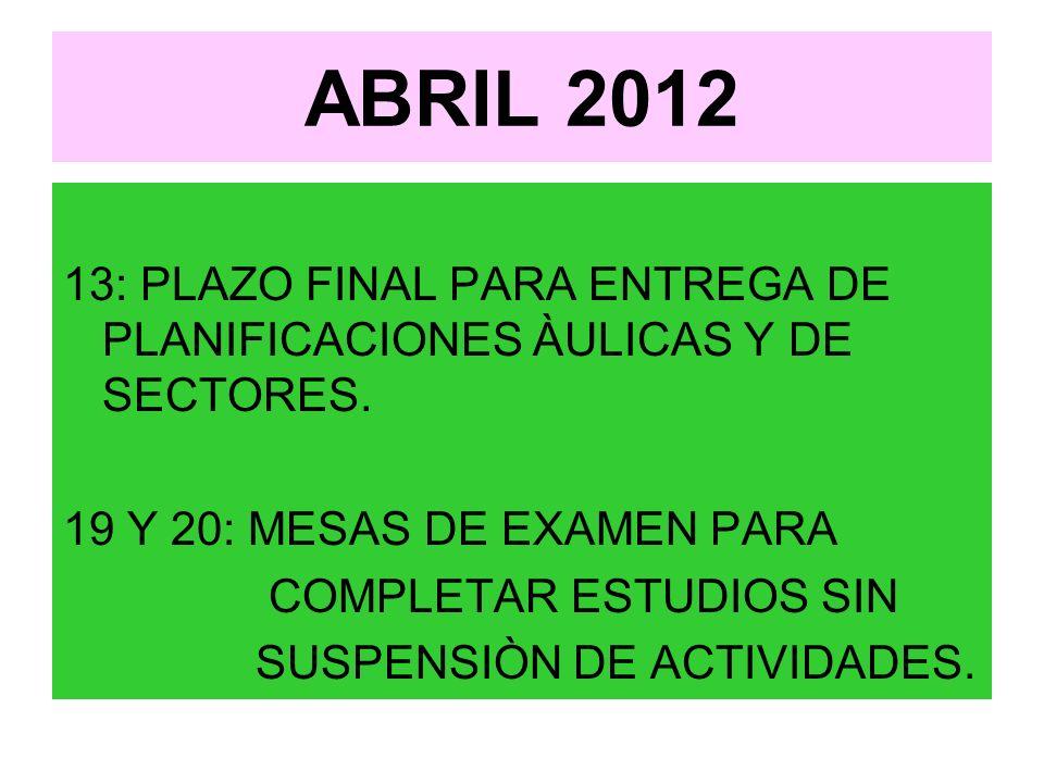 ABRIL 2012 13: PLAZO FINAL PARA ENTREGA DE PLANIFICACIONES ÀULICAS Y DE SECTORES.