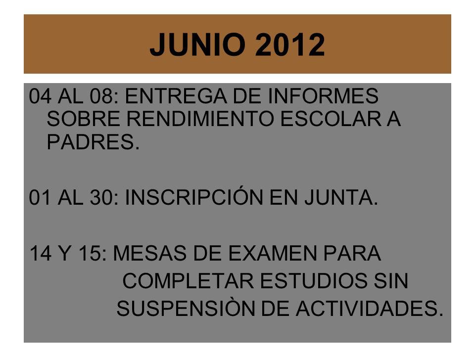 JUNIO 2012 04 AL 08: ENTREGA DE INFORMES SOBRE RENDIMIENTO ESCOLAR A PADRES.