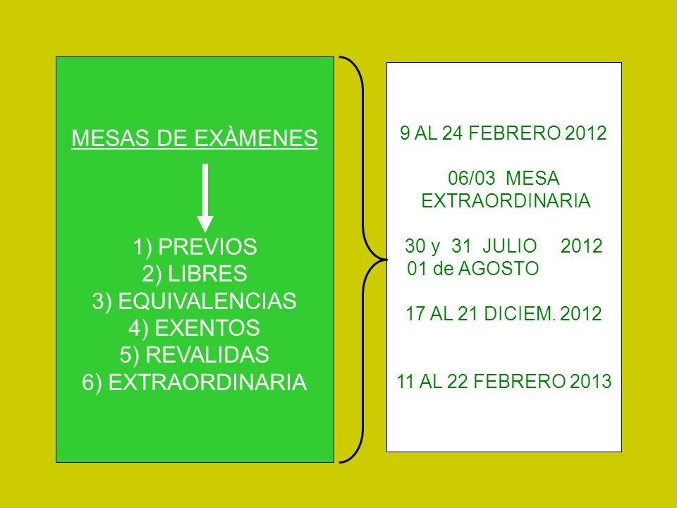 MESAS DE EXÀMENES 1) PREVIOS 2) LIBRES 3) EQUIVALENCIAS 4) EXENTOS 5) REVALIDAS 6) EXTRAORDINARIA 9 AL 24 FEBRERO 2012 06/03 MESA EXTRAORDINARIA 30 y 31 JULIO 2012 01 de AGOSTO 17 AL 21 DICIEM.