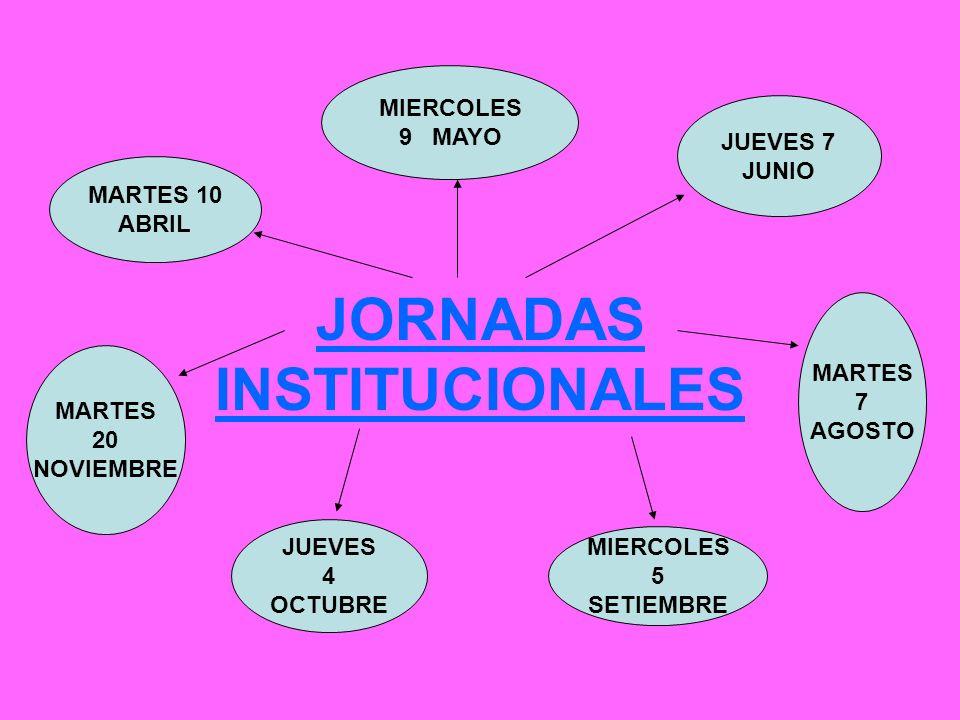 JORNADAS INSTITUCIONALES MARTES 10 ABRIL MIERCOLES 9 MAYO JUEVES 7 JUNIO MARTES 7 AGOSTO MIERCOLES 5 SETIEMBRE JUEVES 4 OCTUBRE MARTES 20 NOVIEMBRE