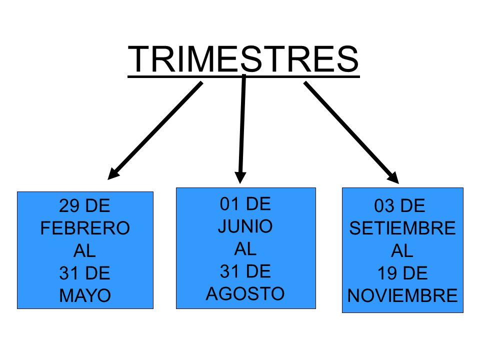 TRIMESTRES 29 DE FEBRERO AL 31 DE MAYO 01 DE JUNIO AL 31 DE AGOSTO 03 DE SETIEMBRE AL 19 DE NOVIEMBRE