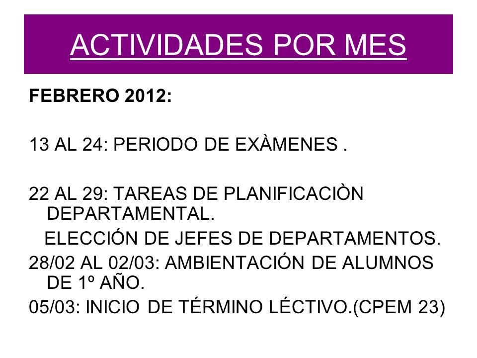 ACTIVIDADES POR MES FEBRERO 2012: 13 AL 24: PERIODO DE EXÀMENES.