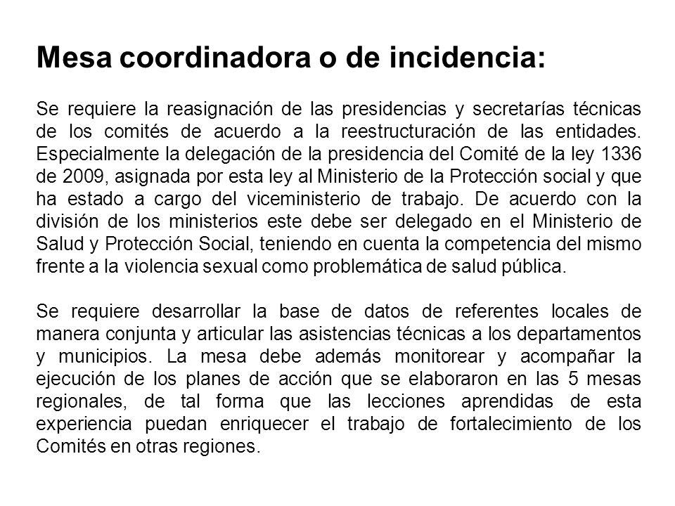 Mesa coordinadora o de incidencia: Se requiere la reasignación de las presidencias y secretarías técnicas de los comités de acuerdo a la reestructurac