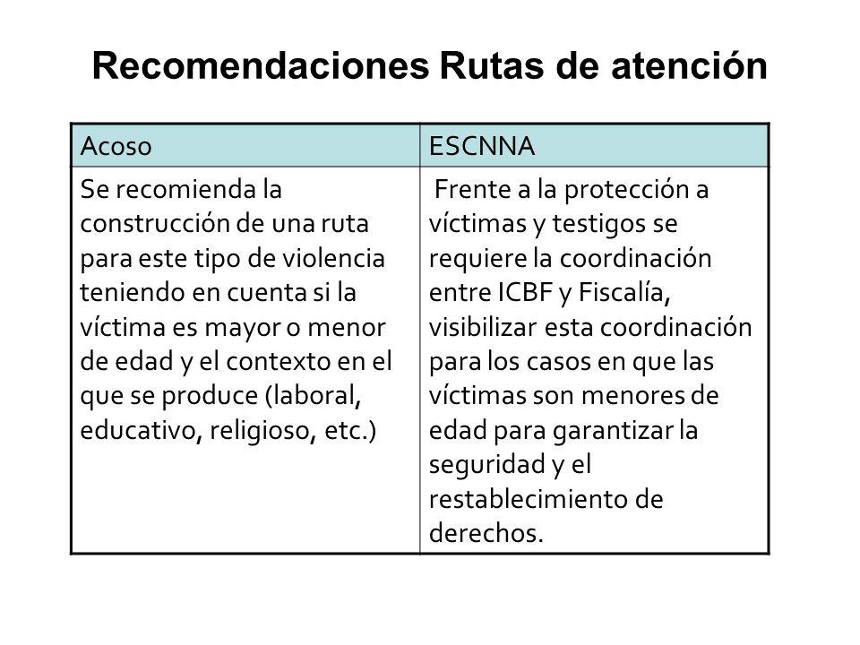 AcosoESCNNA Se recomienda la construcción de una ruta para este tipo de violencia teniendo en cuenta si la víctima es mayor o menor de edad y el conte