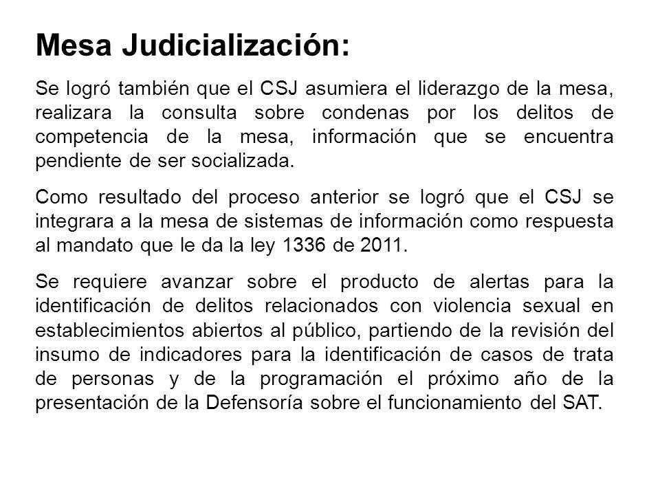 Mesa Judicialización: Se logró también que el CSJ asumiera el liderazgo de la mesa, realizara la consulta sobre condenas por los delitos de competenci
