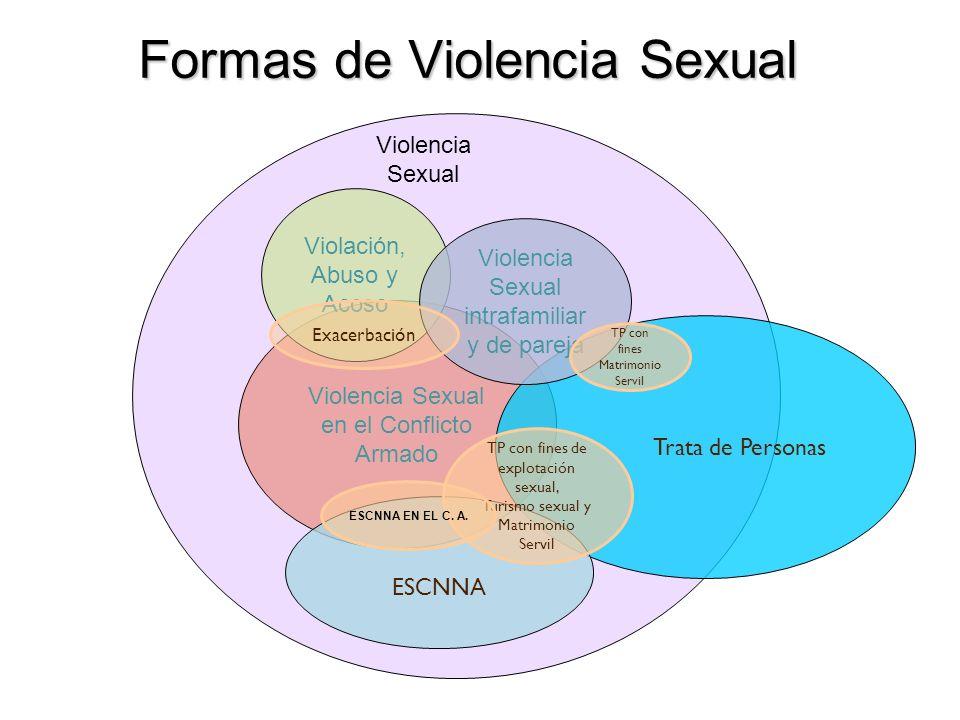Formas de Violencia Sexual Violencia Sexual en el Conflicto Armado Trata de Personas ESCNNA TP con fines de explotación sexual, Turismo sexual y Matri