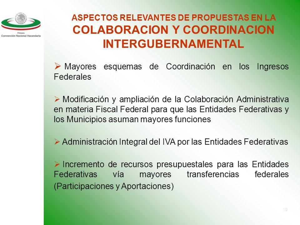 9 ASPECTOS RELEVANTES DE PROPUESTAS EN MODERNIZACION Y SIMPLIFICACION DE LA ADMINISTRACION HACENDARIA La conformación de un Sistema de homologación de la información de las finanzas públicas de los tres ámbitos de Gobierno.