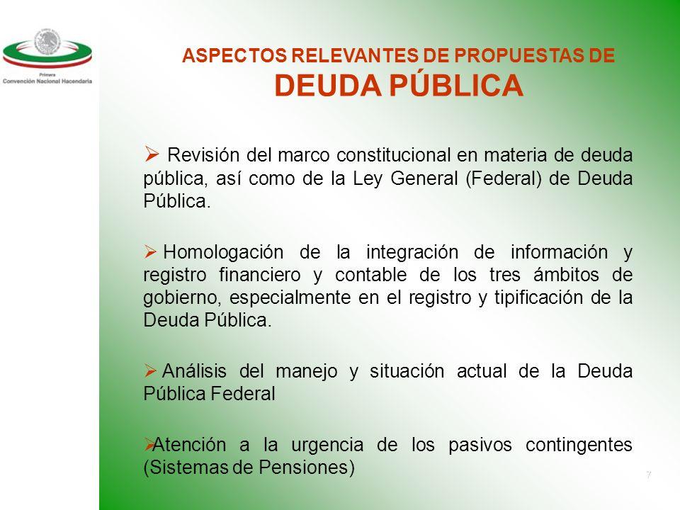 7 ASPECTOS RELEVANTES DE PROPUESTAS DE DEUDA PÚBLICA Revisión del marco constitucional en materia de deuda pública, así como de la Ley General (Federal) de Deuda Pública.
