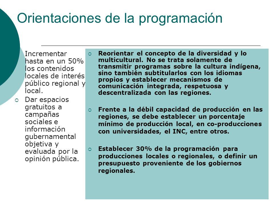 Orientaciones de la programación Incrementar hasta en un 50% los contenidos locales de interés público regional y local. Dar espacios gratuitos a camp