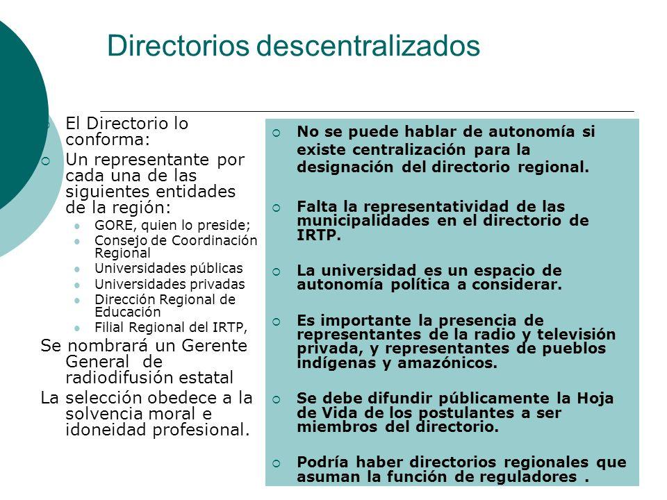 Directorios descentralizados El Directorio lo conforma: Un representante por cada una de las siguientes entidades de la región: GORE, quien lo preside