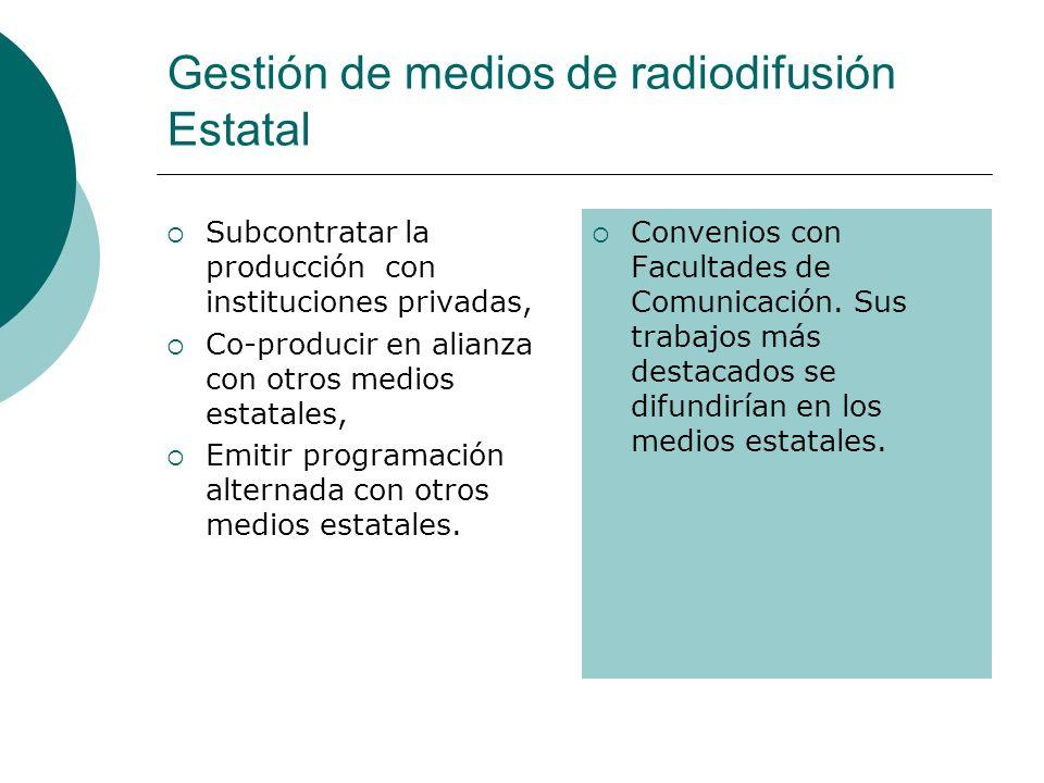 Gestión de medios de radiodifusión Estatal Subcontratar la producción con instituciones privadas, Co-producir en alianza con otros medios estatales, E