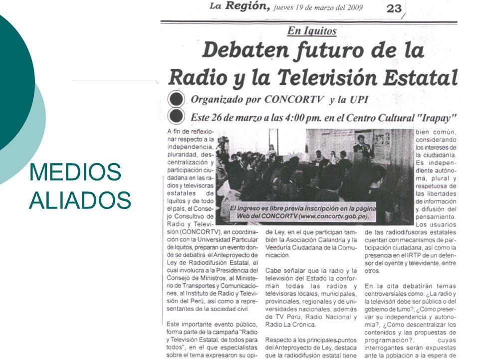 Mesas de Opinión y Foros Públicos en Arequipa, Chiclayo, Chimbote, Iquitos, Lima, Trujillo