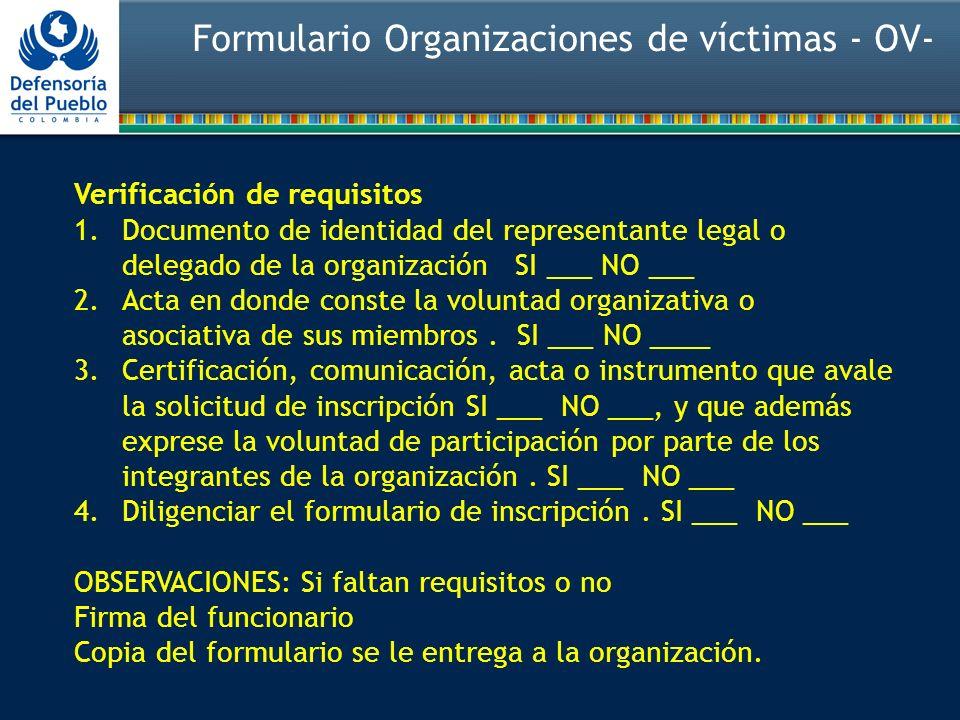 Verificación de requisitos 1.Documento de identidad del representante legal o delegado de la organización SI ___ NO ___ 2.Acta en donde conste la voluntad organizativa o asociativa de sus miembros.