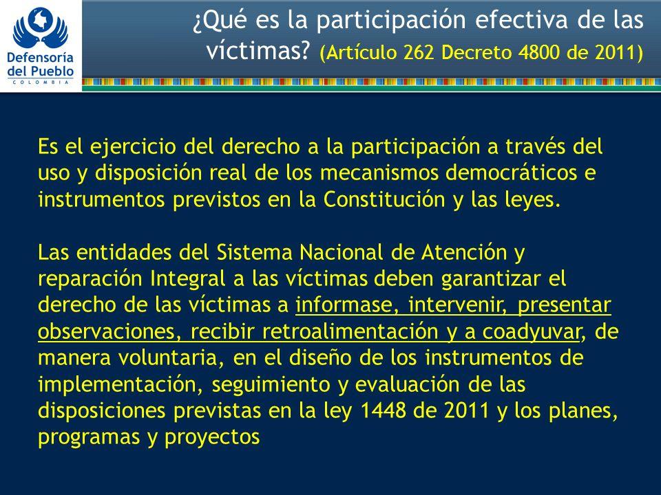 ¿Qué es la participación efectiva de las víctimas.