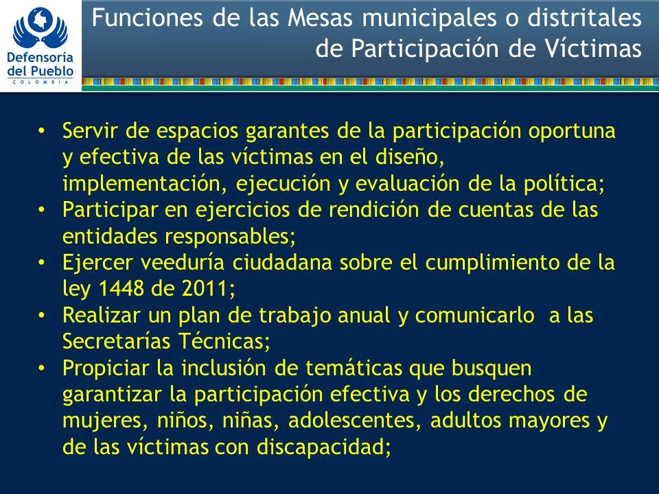 Funciones de las Mesas municipales o distritales de Participación de Víctimas Servir de espacios garantes de la participación oportuna y efectiva de l