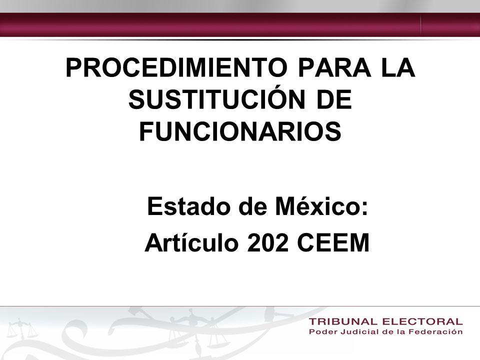 PROCEDIMIENTO PARA LA SUSTITUCIÓN DE FUNCIONARIOS Estado de México: Artículo 202 CEEM