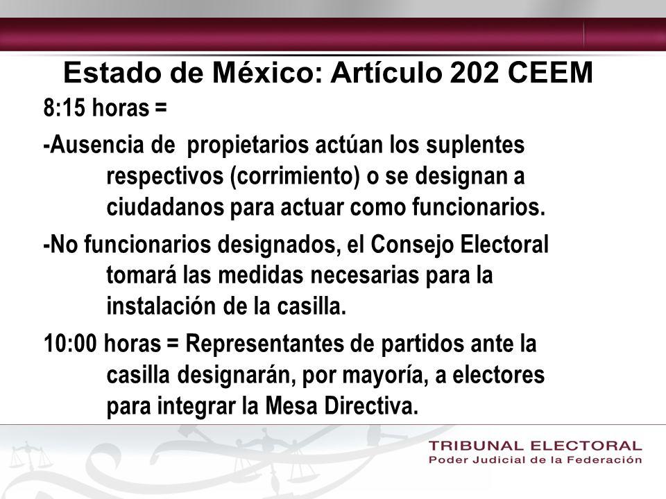 Estado de México: Artículo 202 CEEM 8:15 horas = -Ausencia de propietarios actúan los suplentes respectivos (corrimiento) o se designan a ciudadanos para actuar como funcionarios.