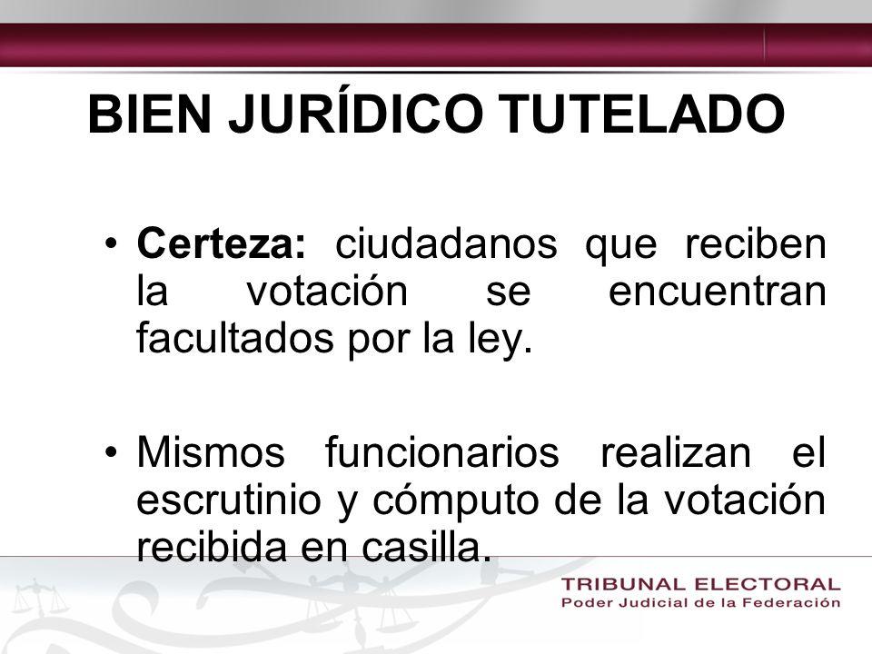 BIEN JURÍDICO TUTELADO Certeza: ciudadanos que reciben la votación se encuentran facultados por la ley.