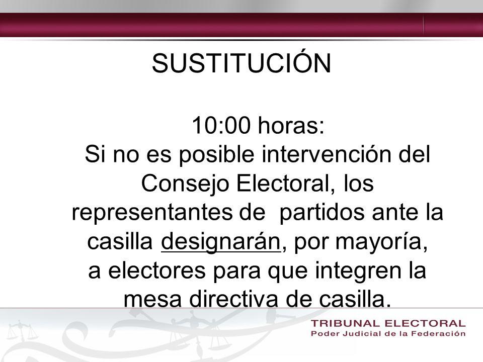 10:00 horas: Si no es posible intervención del Consejo Electoral, los representantes de partidos ante la casilla designarán, por mayoría, a electores para que integren la mesa directiva de casilla.