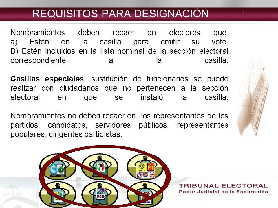 REQUISITOS PARA DESIGNACIÓN Nombramientos deben recaer en electores que: a) Estén en la casilla para emitir su voto.