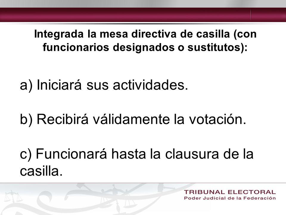 Integrada la mesa directiva de casilla (con funcionarios designados o sustitutos): a) Iniciará sus actividades.
