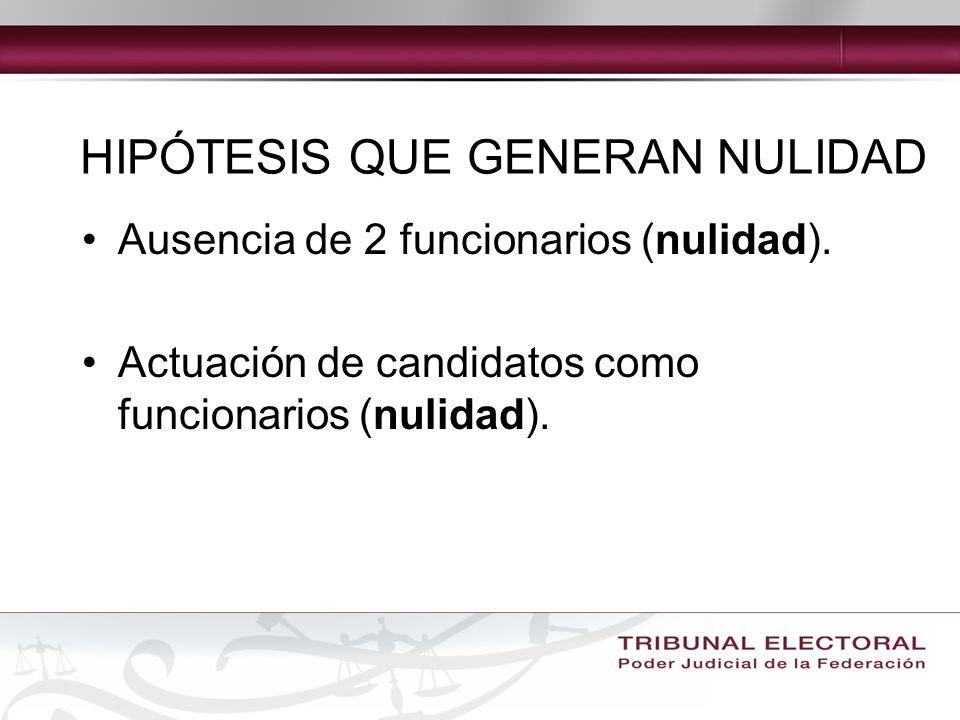 Ausencia de 2 funcionarios (nulidad).Actuación de candidatos como funcionarios (nulidad).