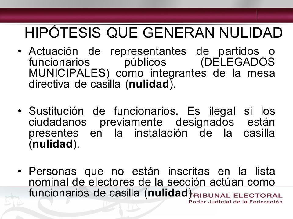 Actuación de representantes de partidos o funcionarios públicos (DELEGADOS MUNICIPALES) como integrantes de la mesa directiva de casilla (nulidad).
