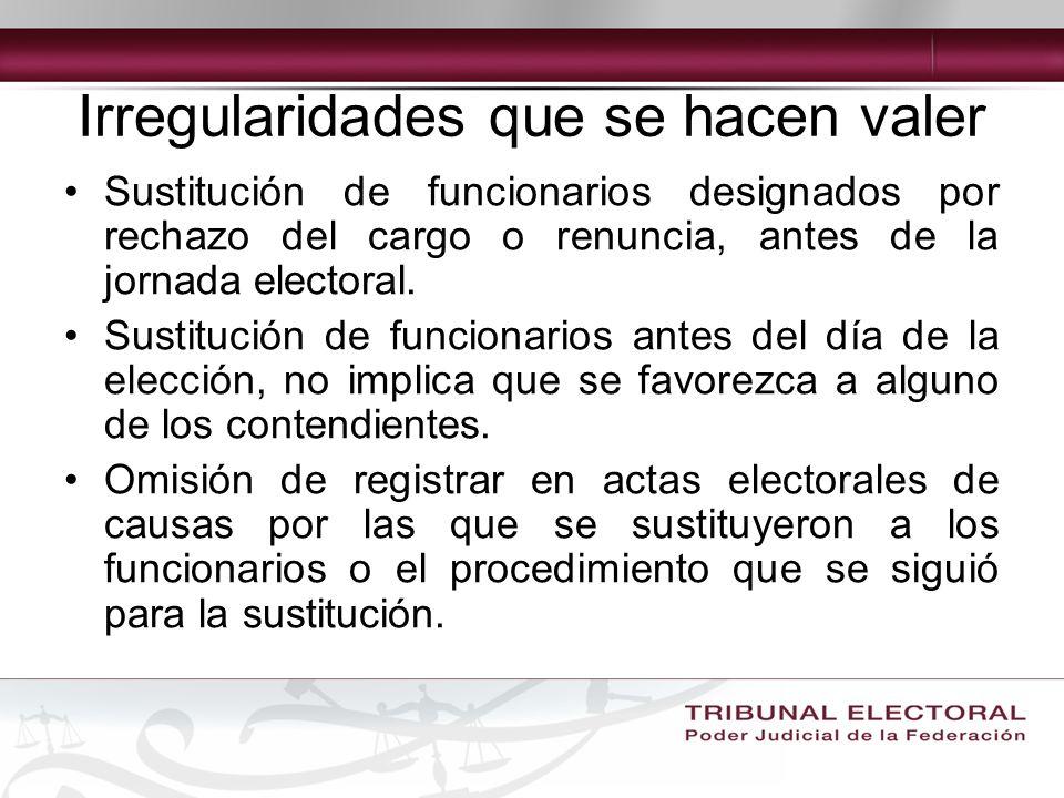 Irregularidades que se hacen valer Sustitución de funcionarios designados por rechazo del cargo o renuncia, antes de la jornada electoral.